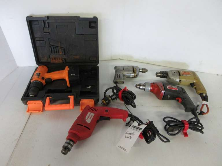 (4)-Electric Drills, One is Not Working; Chicago Electric 18V Drill, No Charger, As Is
