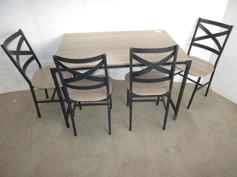 Table and (4) Chairs, Chairs have Metal Backs and Legs, Table has Metal Legs