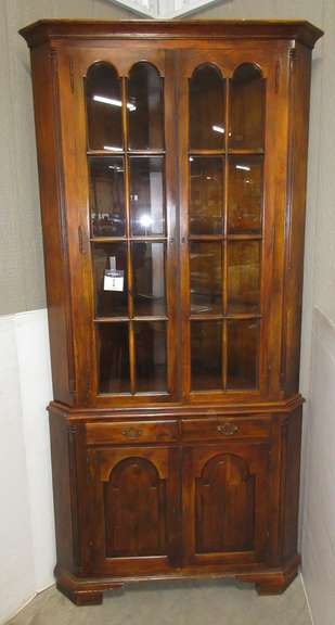Light Walnut/Maple Corner China Cabinet with All Wood Shelves, Two Storage Drawers and Bottom Storage Area, Comes with Original Keys