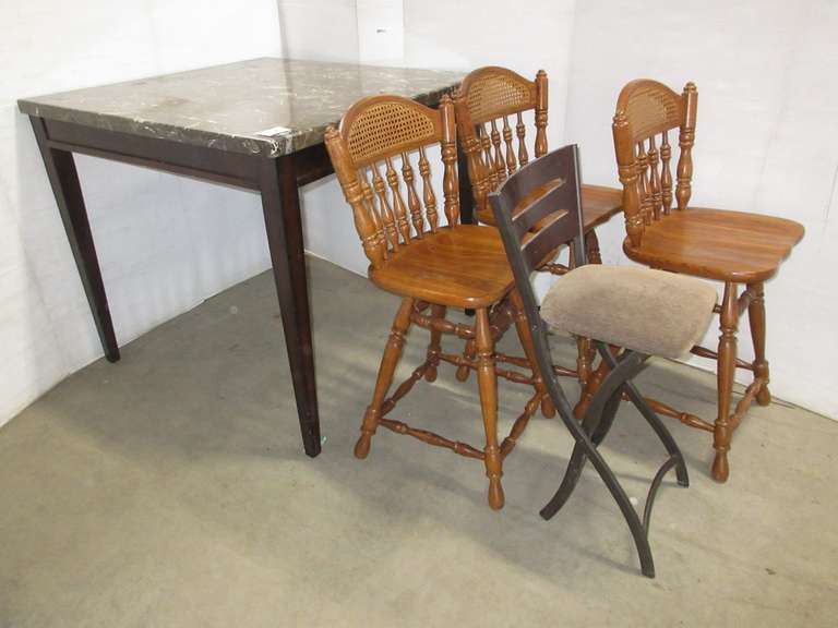 High Top Table with (4) Chairs, 3- are Matching, No Chairs Match Table