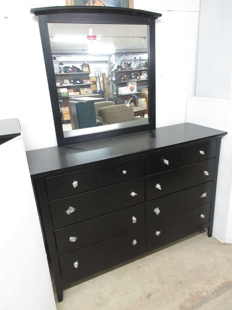 Black Long Eight-Drawer Walter of Wabash Bedroom Dresser with Matching Mirror, Matches Lot No. 5