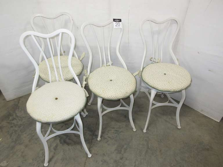 (4) Old Parlor Chairs, Metal and Wood, Matches Lot No. 19