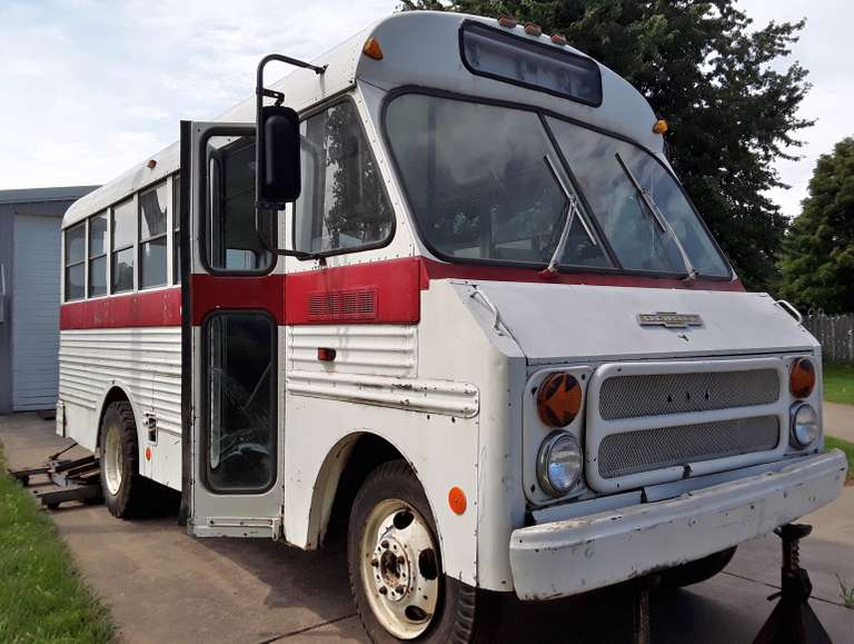 1974 Chevrolet 600 Short Bus, VIN:  98011, Target / Crate 350 Auto Motor, One Seat, Side Benches, No Rust, Runs but NOT Drivable, Clean and Clear Title