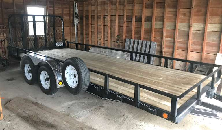 "PJ 18' Tandem Axle Trailer, 7000 lb. GVW, Flip Down Gate, Spare Tire with Holder, 83"" in Between Fenders, Always Housed, Excellent Condition, Looks Like New, Clean and Clear Title"
