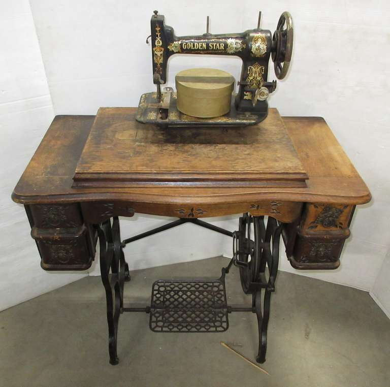 Early 1900s Vintage Sewing Machine and Table, Golden Star, Cleveland, OH