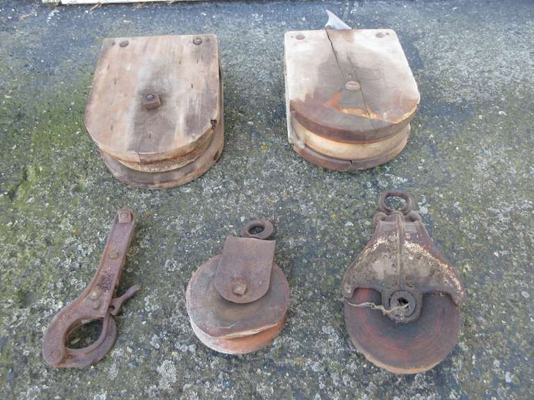 "Old Barn Pulleys: (2)-Wood, and (2)-Steel, 19 1/2"" x 12 1/2"", 6"" and 5 1/2""Diameter"