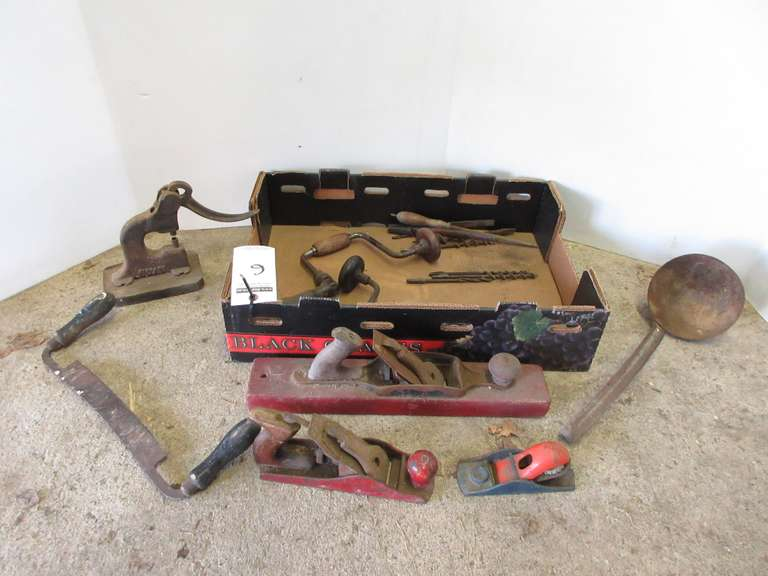 Group with (3)-Hand Planes, Drill braces, Draw Shave, and More