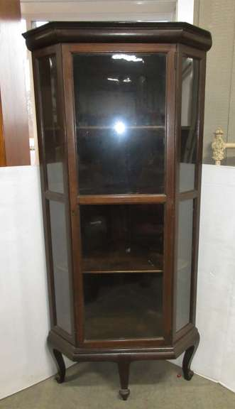 Antique Corner Curio Cabinet with Key, Has Three Rounded Sides and Three Shelves, Key in Office