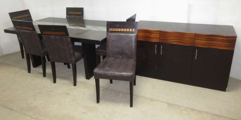 Modern Design Dining Table with Matching Buffet and (6) Chairs