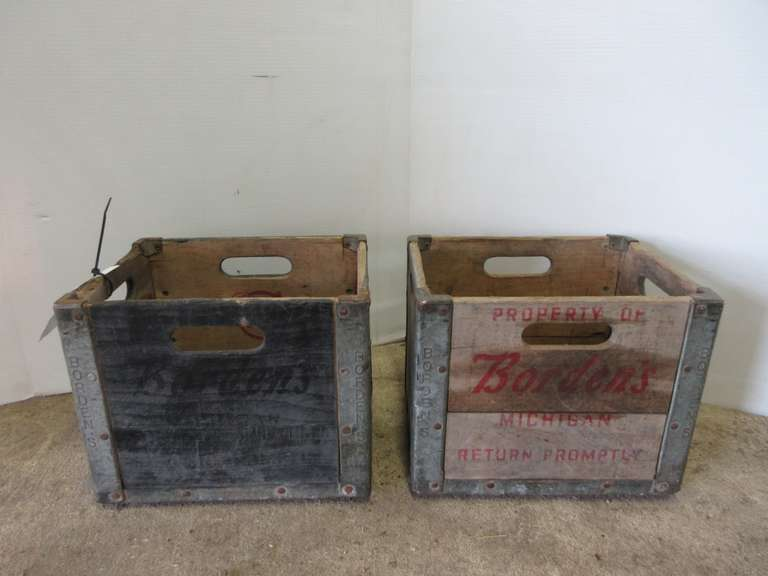 "(2)-Antique Borden's Milk Crates, 10"" x 13"" x 10""High"