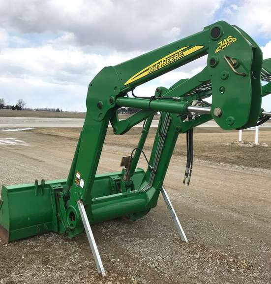 John Deere 746 Front-End Loader with Mounting Brackets, Grill Guard, and Joystick Control, Will Fit John Deere 7720, 7730, 7820, 7830, 7920, 7930 Tractors, Loader was Purchased Used with a Tractor, But We Have Not Used the Loader, No Hydraulic Leaks