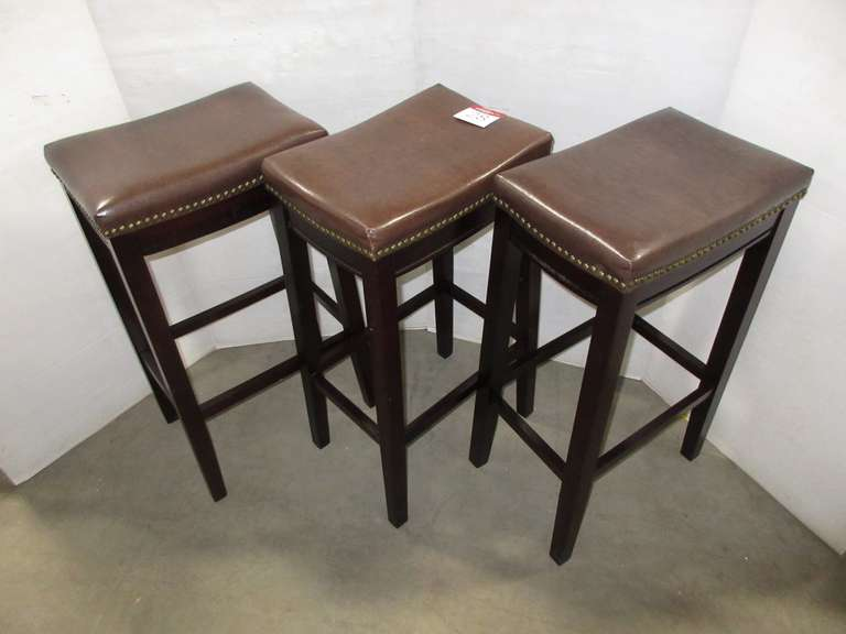 (3) Matching Bar Stools, Wood Frame, Imitation Leather Seat