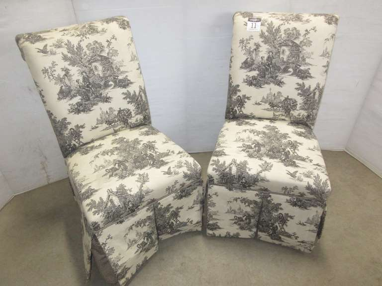 Set of (2) Black and Cream Color Print/Design Sitting Chairs