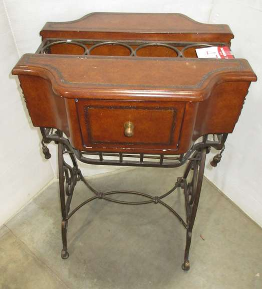 Wrought Iron Wine Stand, Wood Top with Room for Four Bottles of Wine, Drawer on Each Side