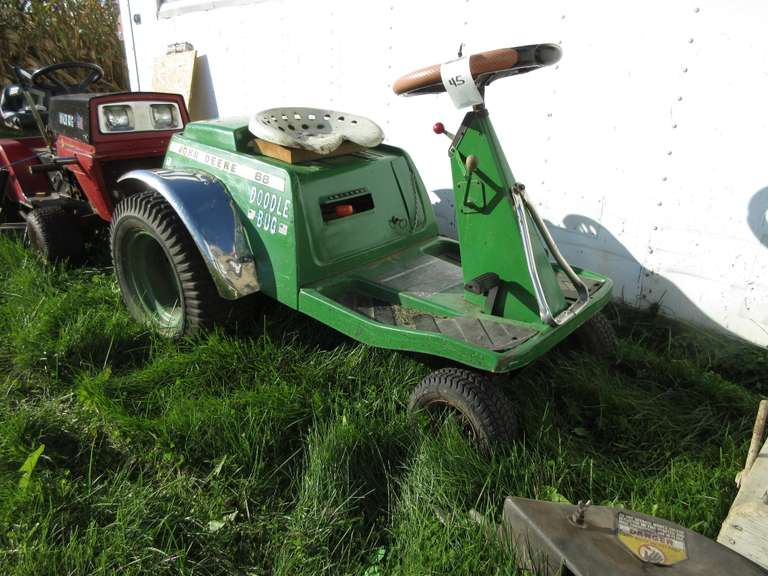 John Deere 68 Riding Mower (No Deck), Briggs & Stratton 11 HP Gas Engine, Engine Turns Over, Should Run With Some Attention.  Note:  All of the outside equipment items have been stored inside until recently to prepare for the auction!