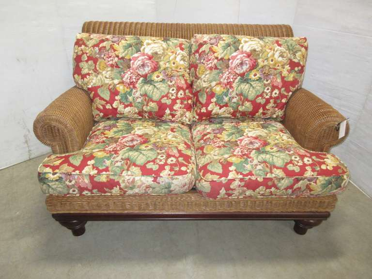 Floral Cushioned Rattan Indoor Sunroom Sitting Couch, All Wood Framed