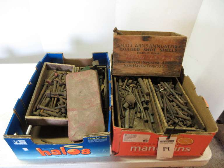 (2)-Boxes with Large Assortment of Old Nuts and Bolts, Assorted Sized and Lengths