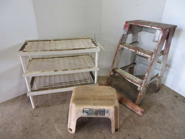 (3)-Plastic Shoe Racks, Plastic Step Stool, and Wood Step Ladder