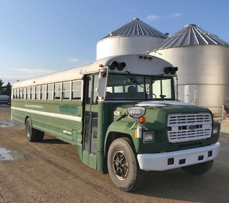 1993 Ford B700 Bus with Hoekstra Body,  (175,220 Miles), 5.9 L Cummins Diesel, Bus was Used to Transport Field Labor for Several Weeks During the Summer Since 2007, Runs Well and Drives Down the Road Well, Body Starting to Show a Few Rust Spots, Starter Does Not Always Engage with the Key, Bus was Not Used During this Last Summer Season, But had Passed DOT Inspections up to that Time, Clean and Clear Title