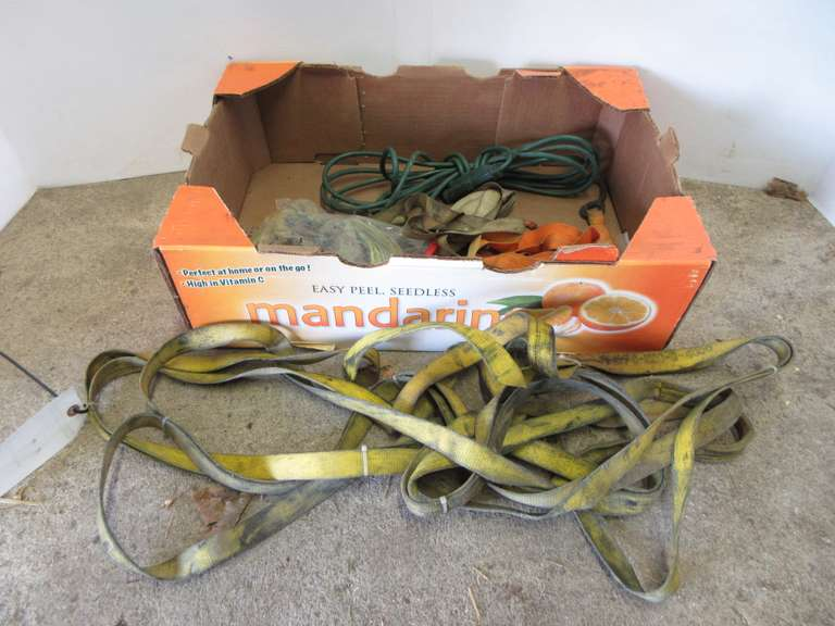 "Assorted Light Duty Ratchet Straps, (4)-48"" Choker Straps and an Extension Cord"