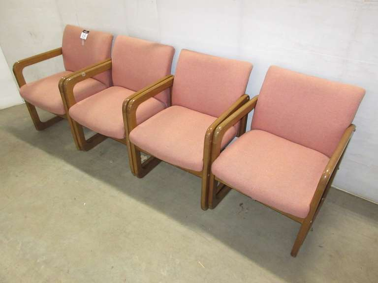 (4) Oak Frame Office Chairs, Fully Cushioned Fabric