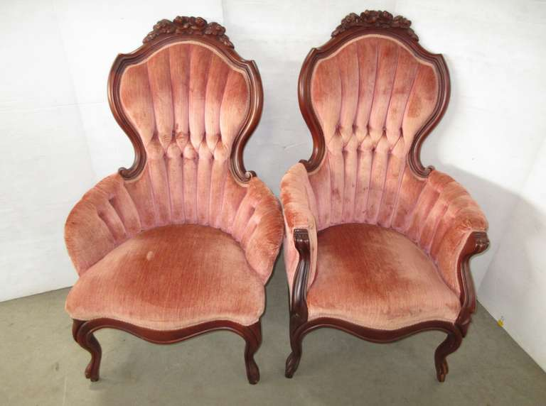 Set of (2) Queen Anne Victorian Chairs
