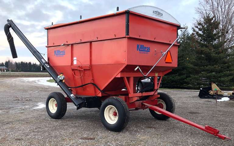 "Killbros 350 Gravity Wagon on 8-Ton Running Gear with Killbros 14' Brush Seed Auger and Shurlok Roll Tarp, Box has 20"" Extensions, Great Condition, Never Had Fertilizer in Box"