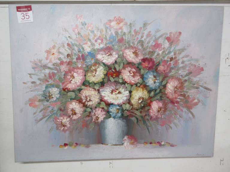 Very Large Flower Oil Painting, 3D Flowers by Kelly