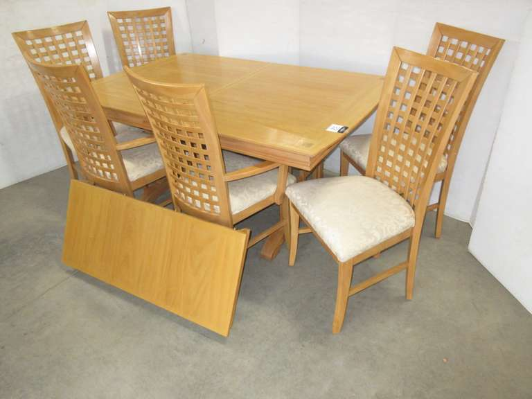Heavy Built Hardwood Table with Leaf and (6) High Back Chairs with Upholstered Seats, 2- Chairs with Arms, 4- Chairs without