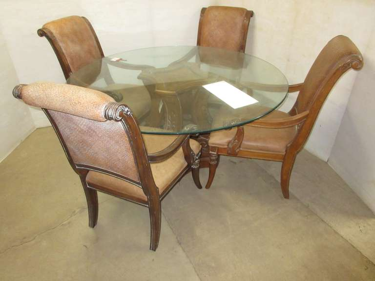 Large Round Glass Top Table and (4) Chairs, Made by Lane