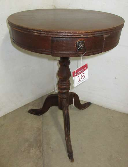 Older All-Wood Round Table with Drawer Top