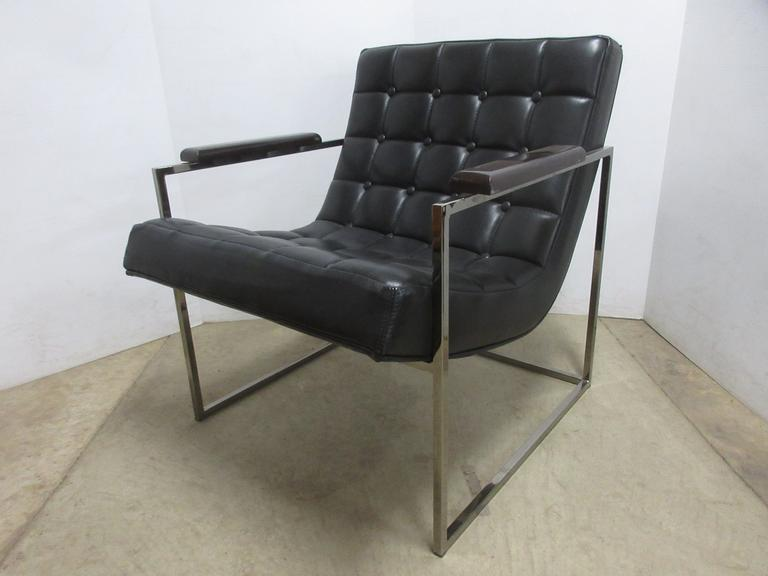 Contemporary Modern Imitation Leather Metal Frame with Wood Armrests Sitting Chair, Made by Thayer Coggin, Matches Lot No. 40