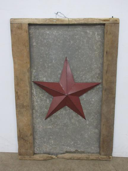 Antique Grain Screen with Barn Star Decor