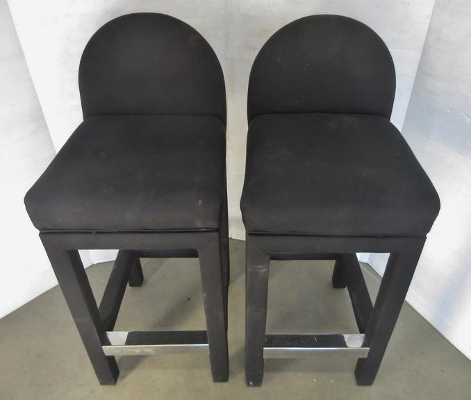 (2) Black Upholstered Bar Stools with Swivel Seats