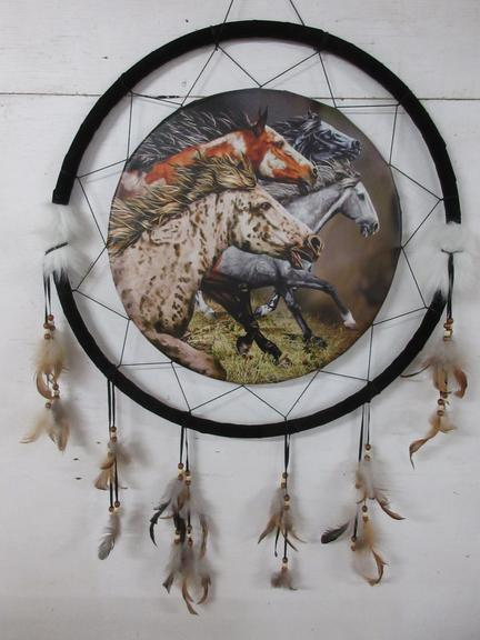 Indian Dream Catcher Showing Horses with Feathers and Beads