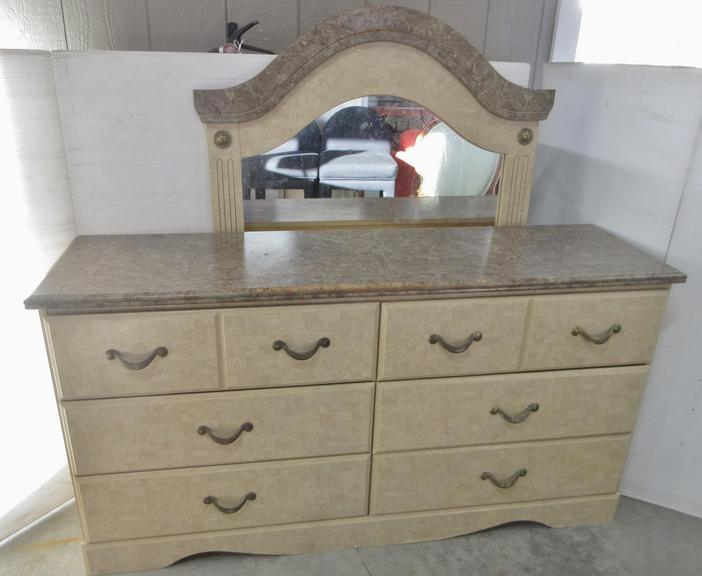 Six-Drawer Dresser with Mirror
