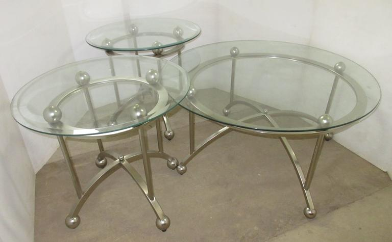 Three-Piece Table Set, Have Metal Frames with Glass Tops