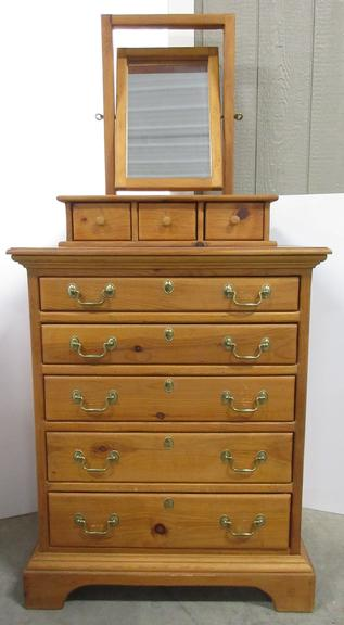 Older Amish Dresser/Chest with Mirror and Small Drawers