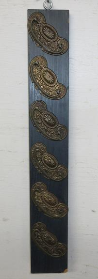 Set of (6) Matching Brass Victorian Drawer Pulls Mounted on Board