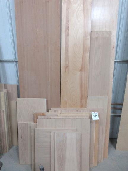 "Assorted Sheets of 1/2"" Oak, Birch, Cherry, and Hickory Plywood, Some Finished and Unfinished"