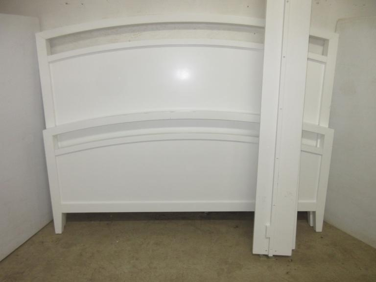 White Crate and Barrel Curved Top Queen Size Headboard and Footboard Set with Rails, Seller States Expensive when New