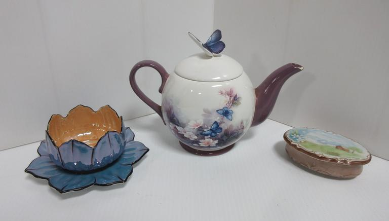 Teapot by Lena Lici, Jewelry Holder, Decorative Bowl, and Saucer