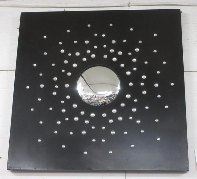 Unique Large Square Black Wall Hanging with Han Convex Mirror Surrounded by 100 Small Prisms, Seller States Retails for $83