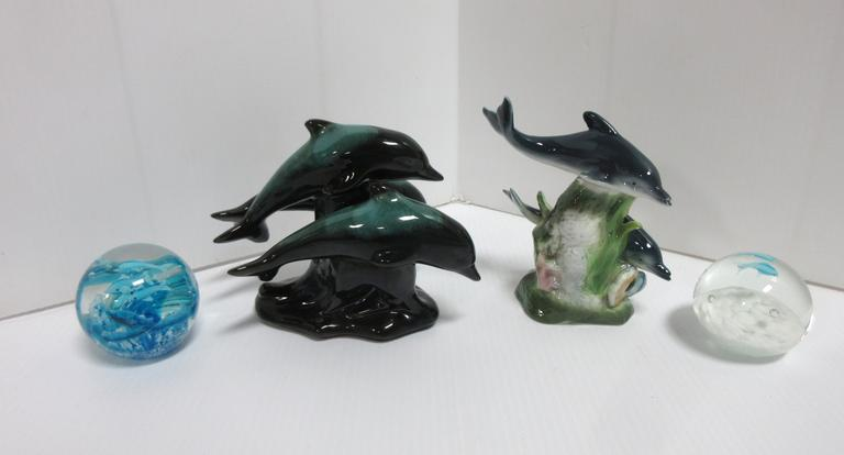 "(4) Dolphin Items, Include: Blue Mountain Pottery, Made in Canada, 6""H; Peaceful Journey Papel; 2- Paperweights"