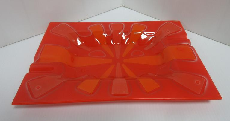 Orange/Mandarin Signed Higgins Fused Art Glass, Seller States Hard to Find This Size