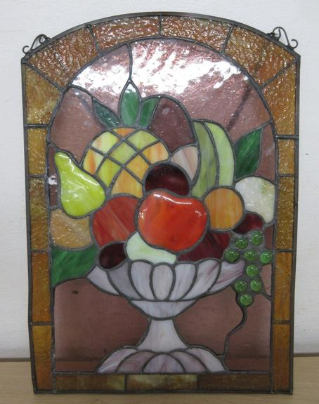 Hanging Stained Glass with Fuit Basket Motif