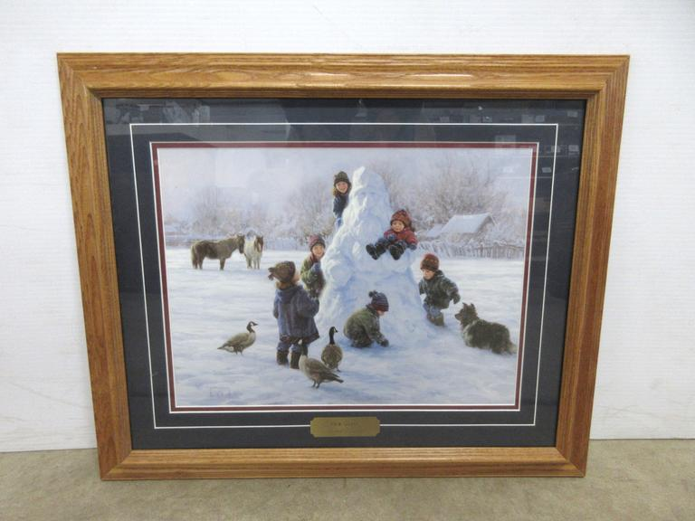 Robert Duncan Framed Print of Children Building Snowman