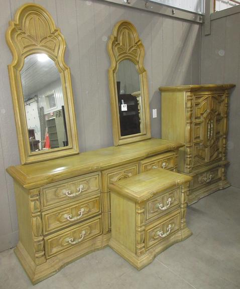 "Three-Piece Bedroom Set with Mirrors, Includes: Long Dresser, 72""W x 20""D x 33""H; Night Stand, 29""W x 16""D x 25""H; Tall Dresser, 28""W x 20""D x 58""H"
