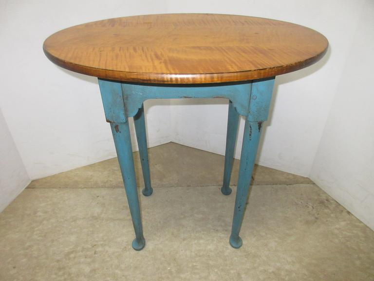 Michael Lamp Fine American Furniture Light Blue Wood Topped Accent End Table, All Wood, Well Made