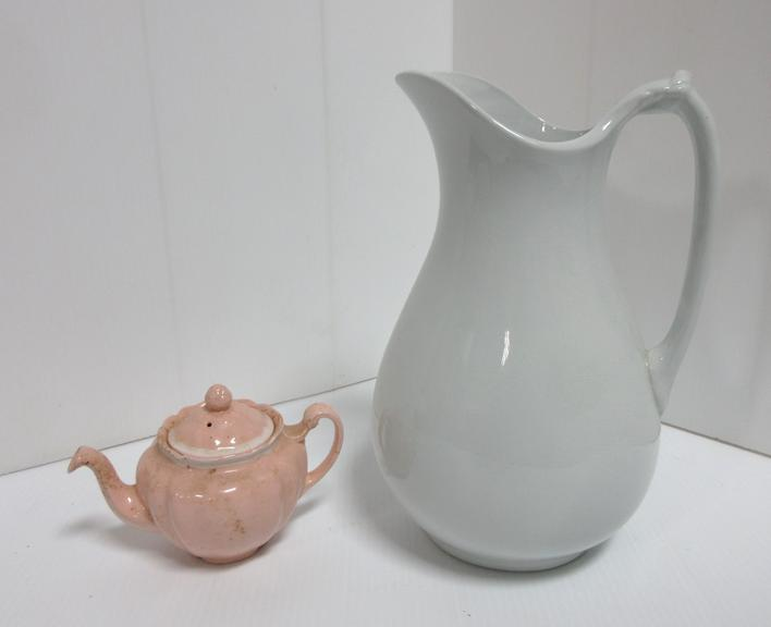 Ironstone China J&G Meakin Hanley England Pitcher and an Old Staffordshire Teapot